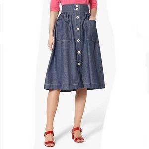 NWT LK Bennett Annelinn Denim Midi Skirt, Size 6